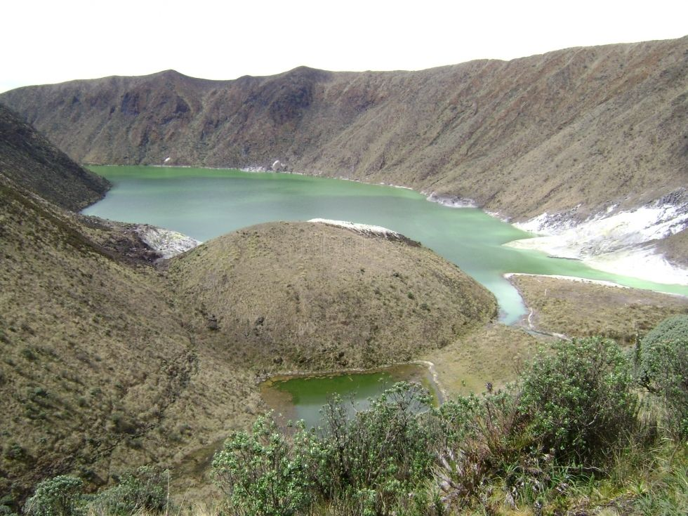 The lakes of the volcano Azufral, which you can visit outside Tuquerres, Colombia.
