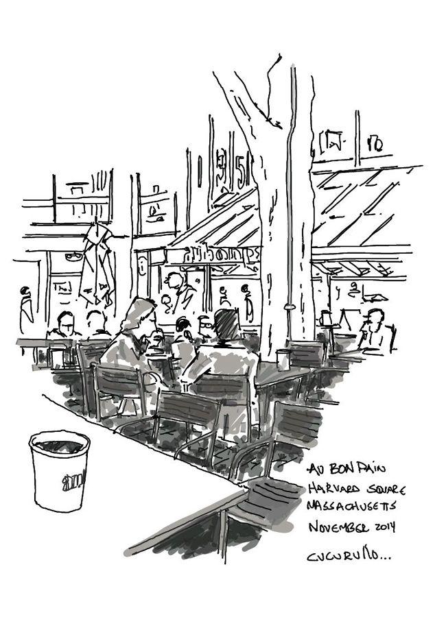 Au Bon Pain, Harvard Square Cambridge, Massachusetts,  (cafe sketch by Michael Cucurullo)