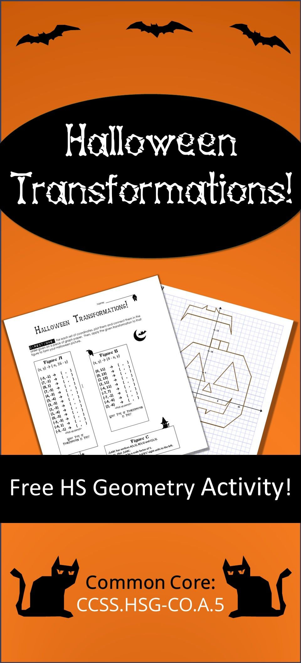 Free Halloween Transformations Activity For Hs Geometry Students