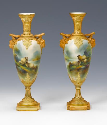 A Pair Of Royal Worcester Vases By Harry Davis Dated 1907 I Love