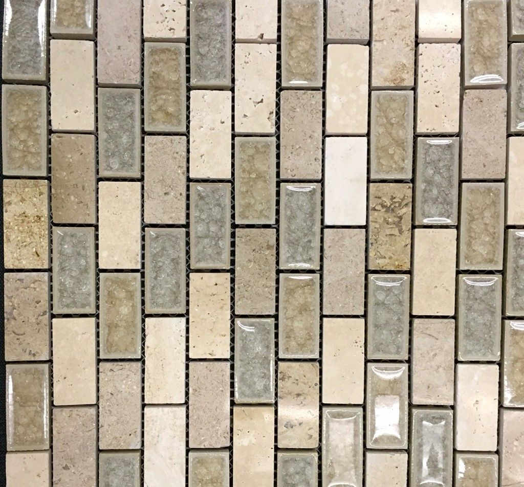 Kitchen Accent Tile Alpha Tile Elysium Mosaics 1x2 Swiss Brick Design 4 Horizontal Band Master Bath Accent 3 Band Bet Brick Shower Niche Granite Tile