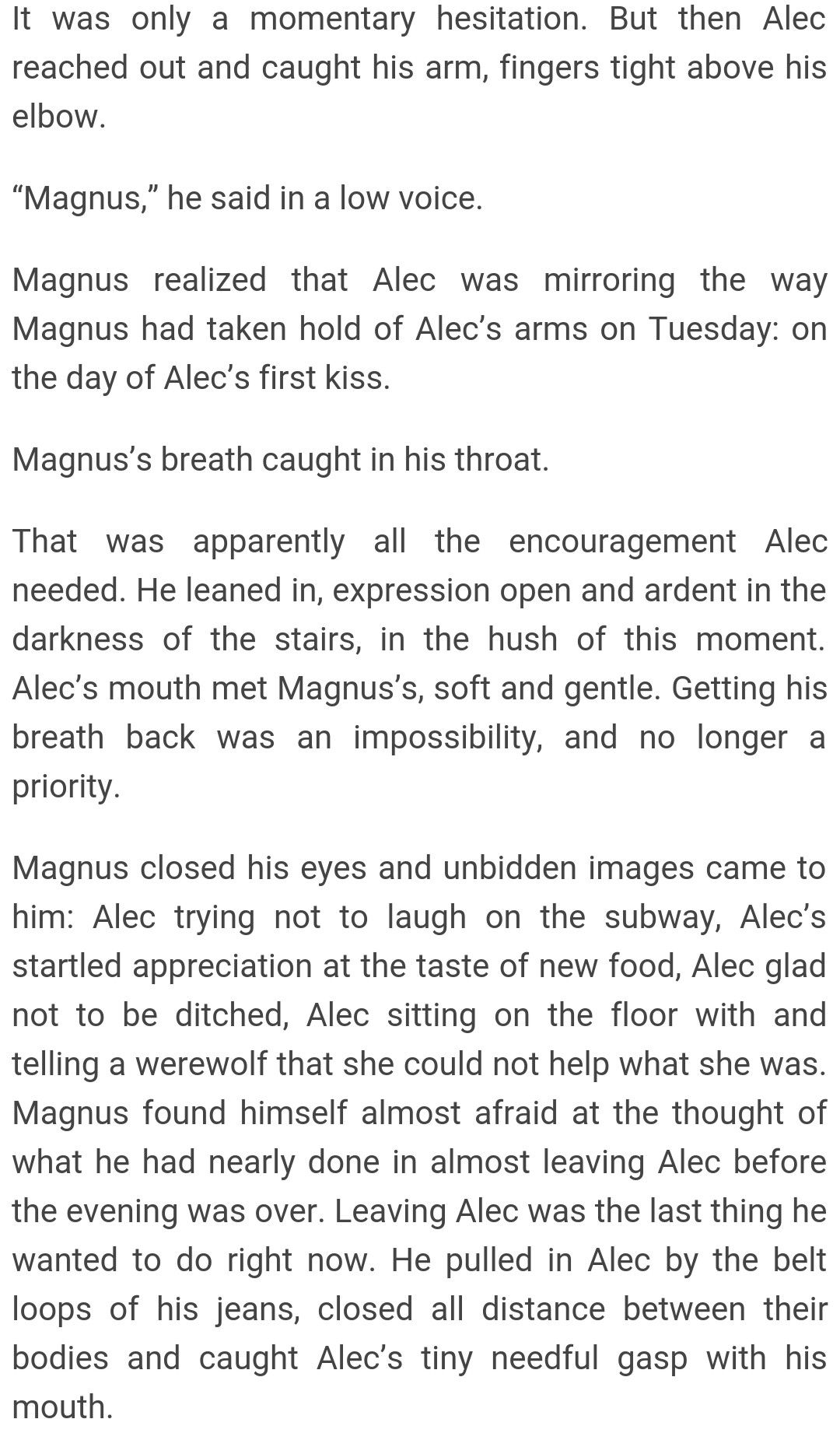Malec Magnus Bane Alexander Alec Lightwood s kiss after their