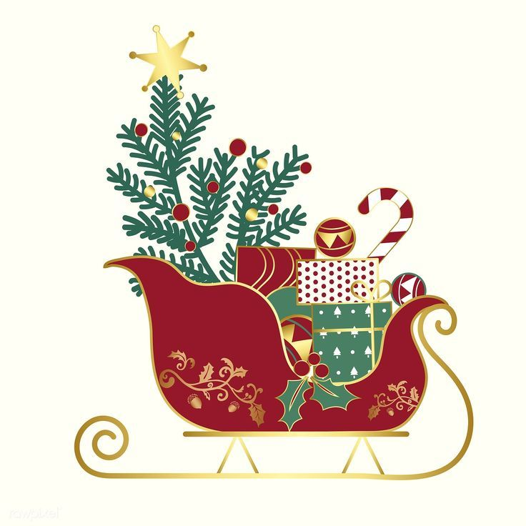 Christmas presents on a sledge vector free image by