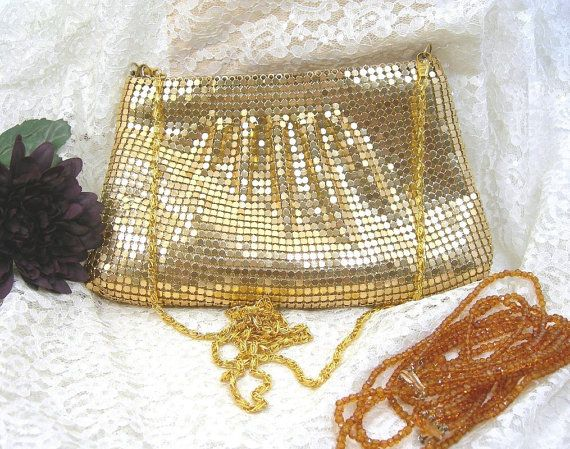 Goldtone Mesh Evening Bag, Vintage c1970s, Metal Mesh, Long Chain, Zip Closure, Made in China