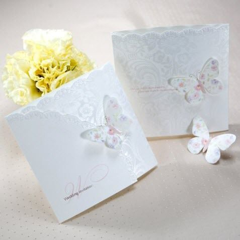 White Colorful Butterfly Wedding Invitations Cards (Set of 50)with Envelopes and Seal, Printable and Customizable US $65.50