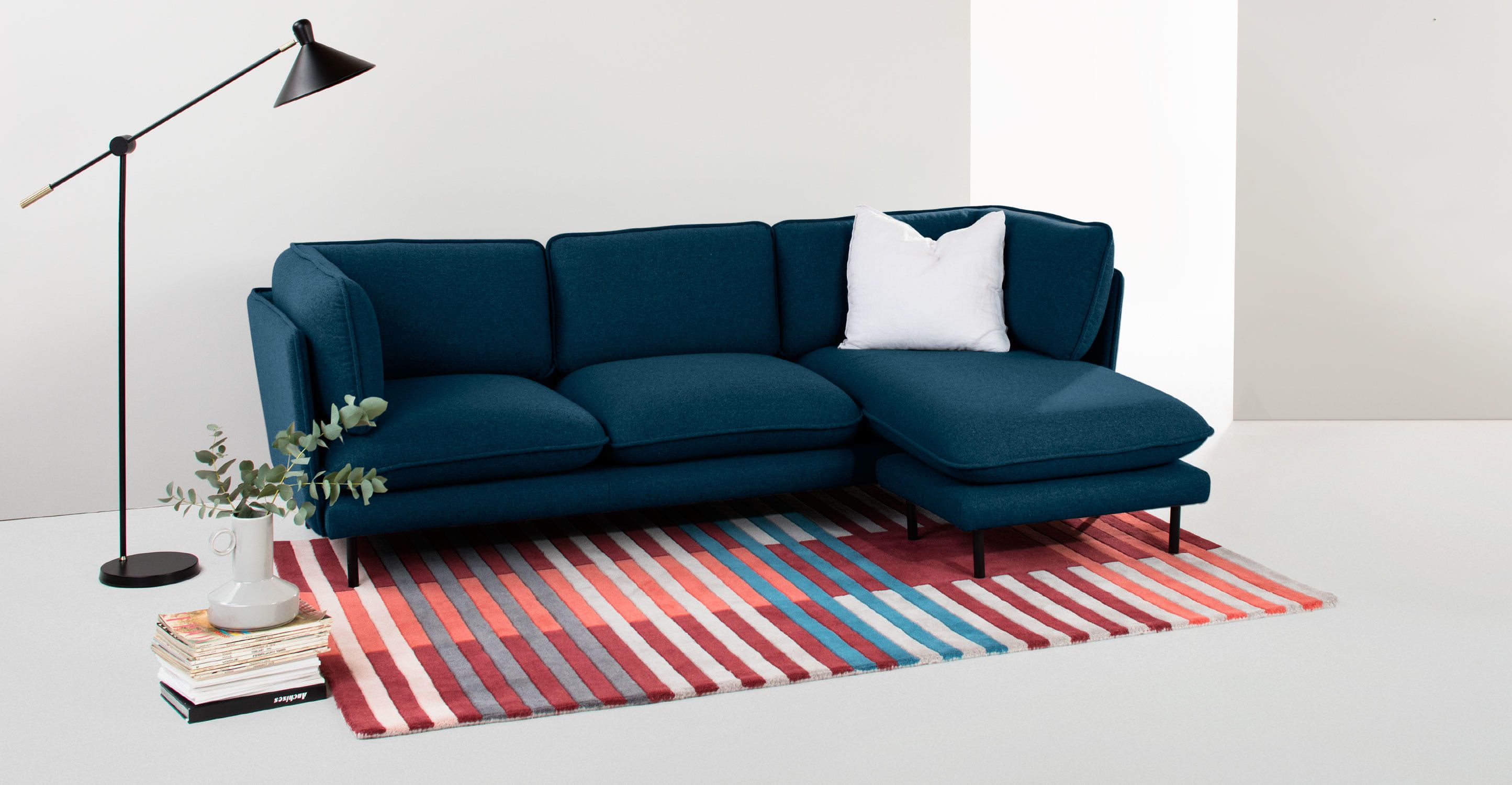 Wes corner chaise Petrol Teal from Made Express delivery