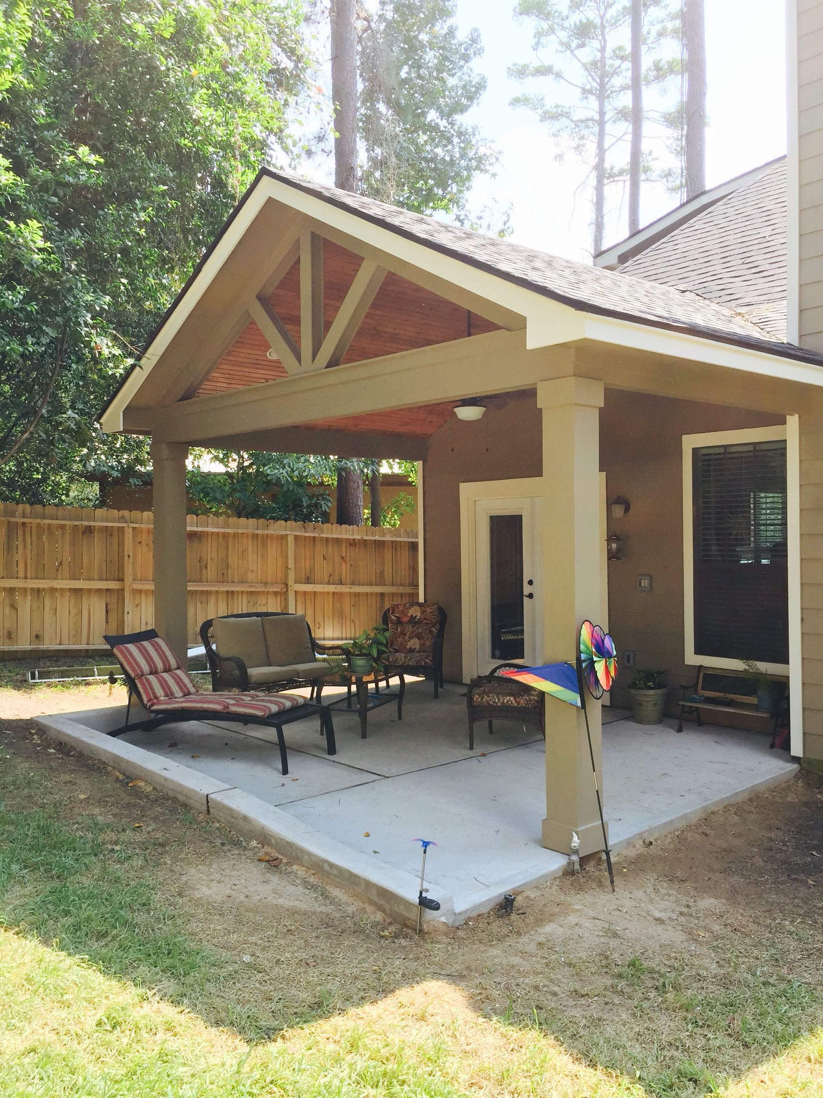 Gable roof patio cover with wood stained ceiling patio for Outdoor porches and patios