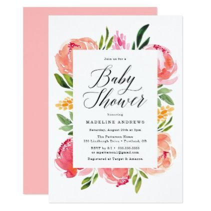Unique Vibrant Blooms Baby Shower Invitation For Your House - Modern bloom baby Top Search