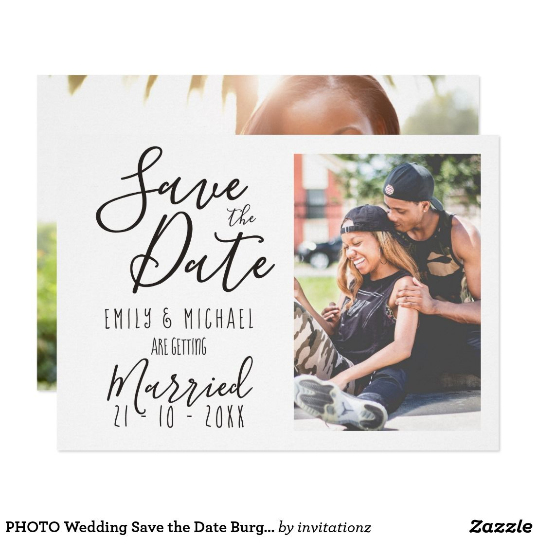 Photo Wedding Save The Date Burgundy Handwriting Card Trending
