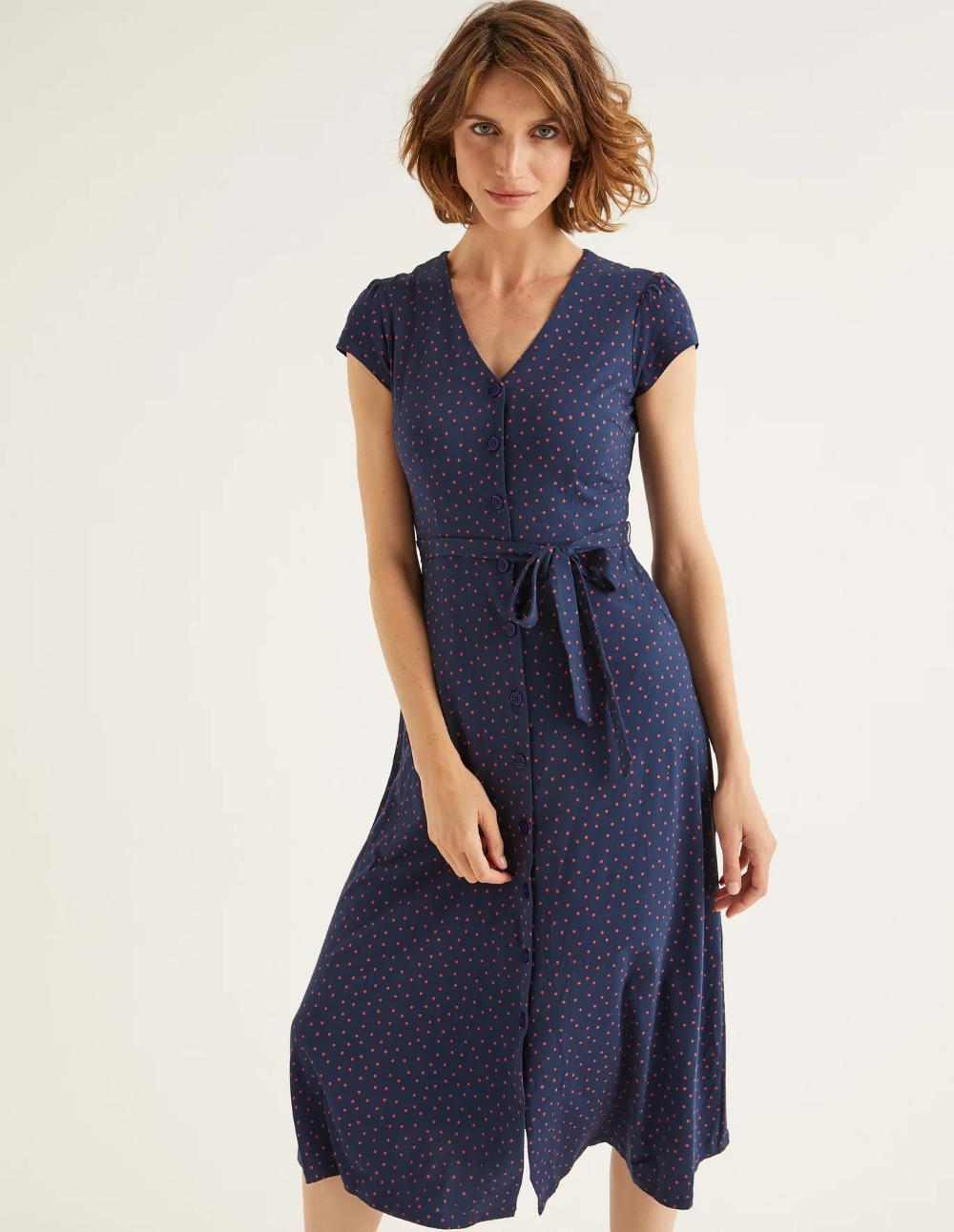 Frances Jersey Midi Dress Navy Polka Dot Sz 6p Navy Midi Dress Midi Dress Midi Jersey Dress [ 1292 x 1000 Pixel ]