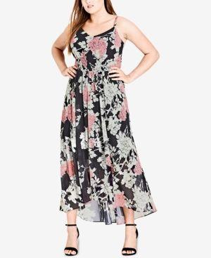 City Chic Trendy Plus Size Printed Maxi Dress Black 14W
