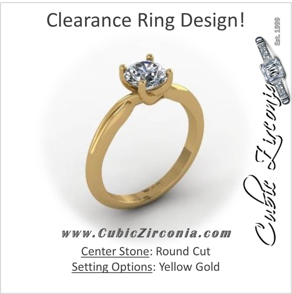 Clearance Cubic Zirconia Engagement Ring 075 Carat Round with