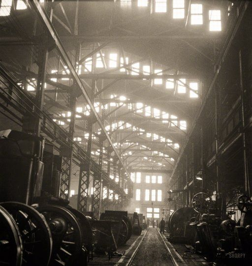 "March 1943. ""Fort Madison, Iowa. Shopton locomotive shops of the Atchison, Topeka & Santa Fe Railroad."" Photo by Jack Delano"