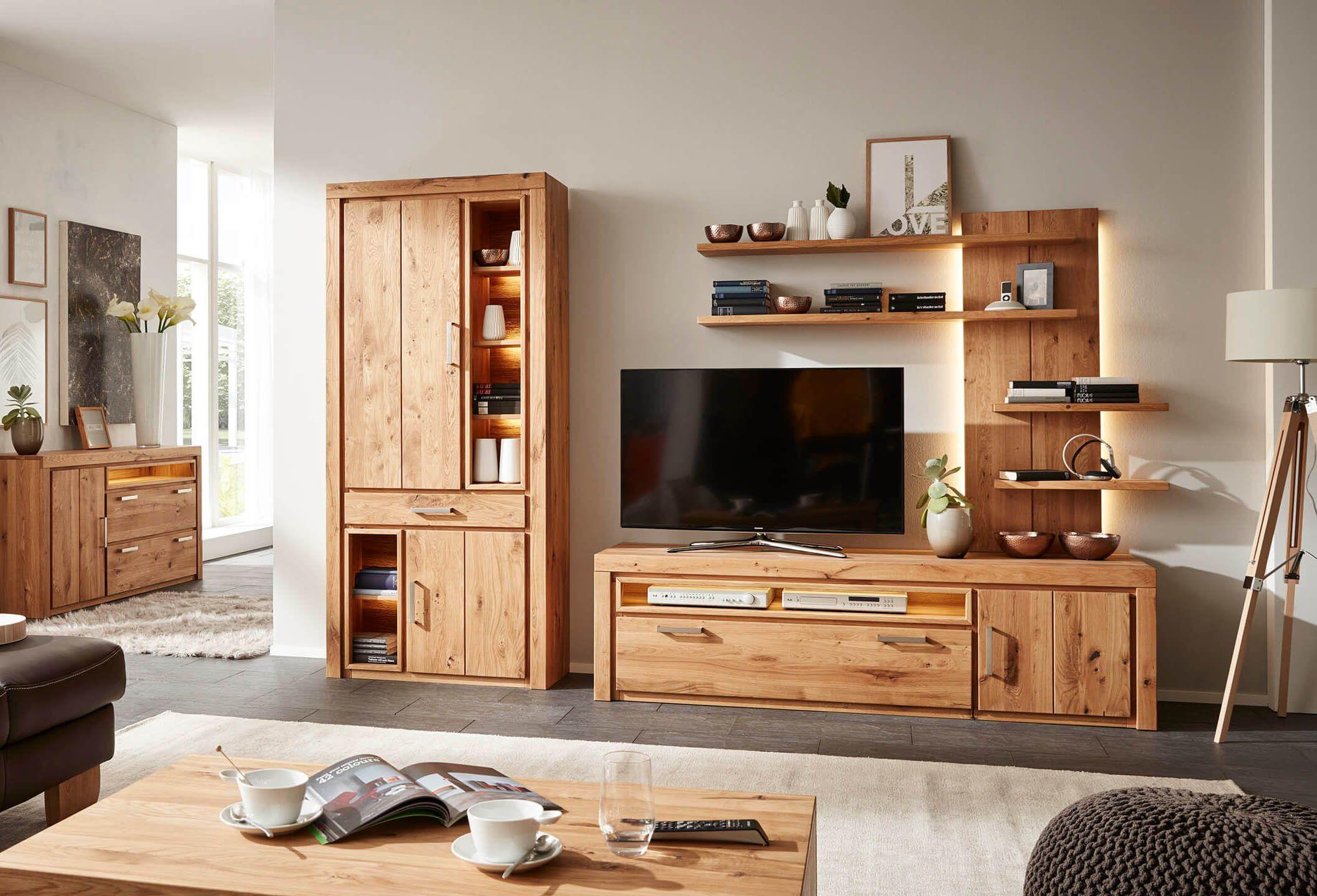 Wohnzimmer komplett im Holz-Look | Wohnzimmer, Möbel ...