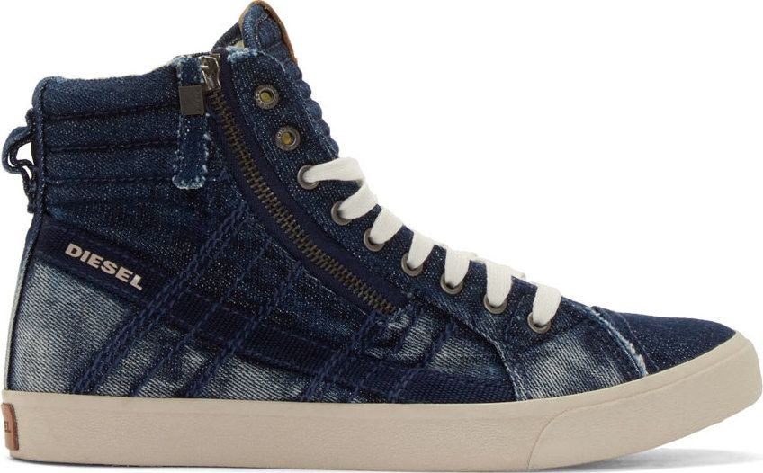 finest selection 82243 d679e Diesel Indigo Denim D-String High-Top Sneakers Diesel Shoes, Diesel Denim,