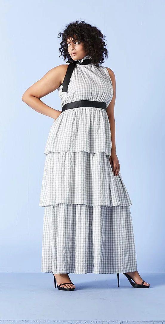 Plus Size Gingham Tie Neck Maxi Dress plussize