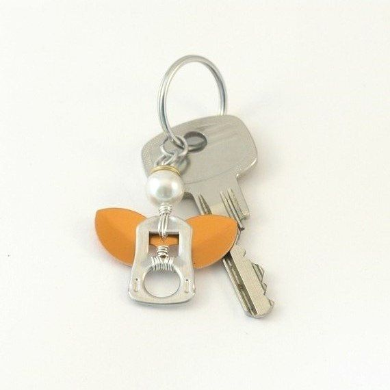 pop tab keychain  angel orange wings wire wrapped by tabsolute, $7.00