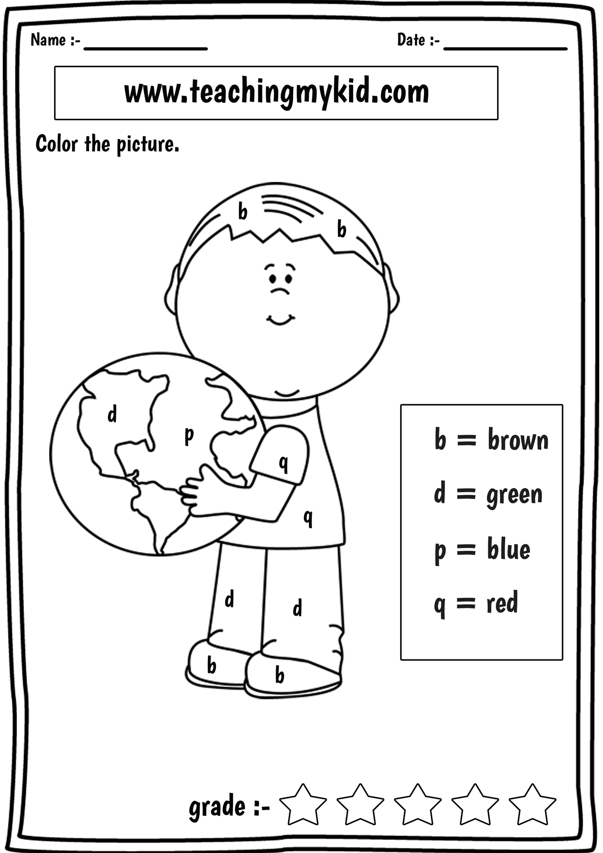 Dyslexia Pages Confusing Letters B D P And Q Kindergarten Learning English Worksheets For Kids Learning Letters [ 1754 x 1240 Pixel ]