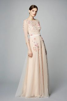 5645195808 Marchesa Notte ¾ Sleeve Beaded Tulle Evening Gown N13G0291 | The ...