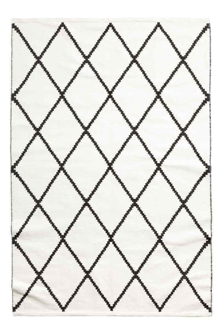 bf423b68dc494f Jacquardgeweven vloerkleed - Wit zwart dessin - HOME