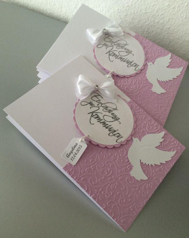 Elegant Einladung Kommunion *lila* *flieder*