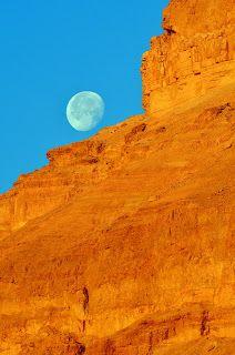 moon and rocks near dead sea israel