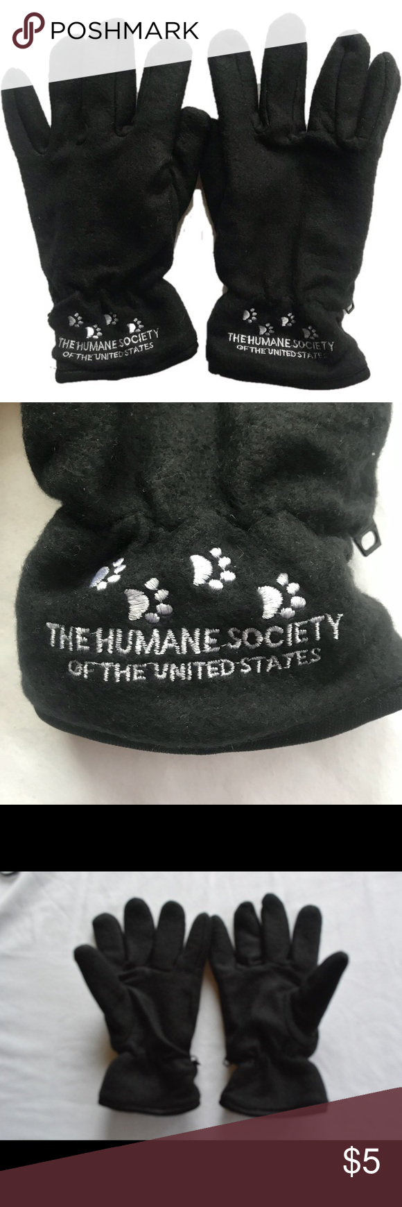 Black Winter Gloves With Humane Society Logo Gloves Winter