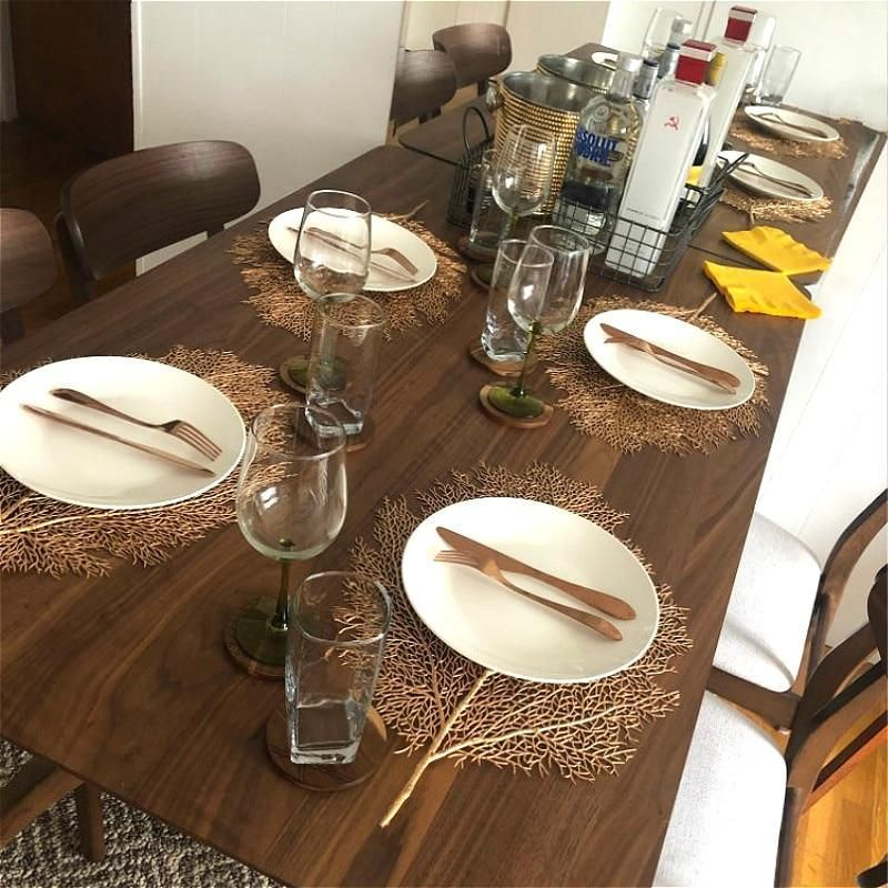 Metallic Leaf Creative Dining Table Placemat Dining Table