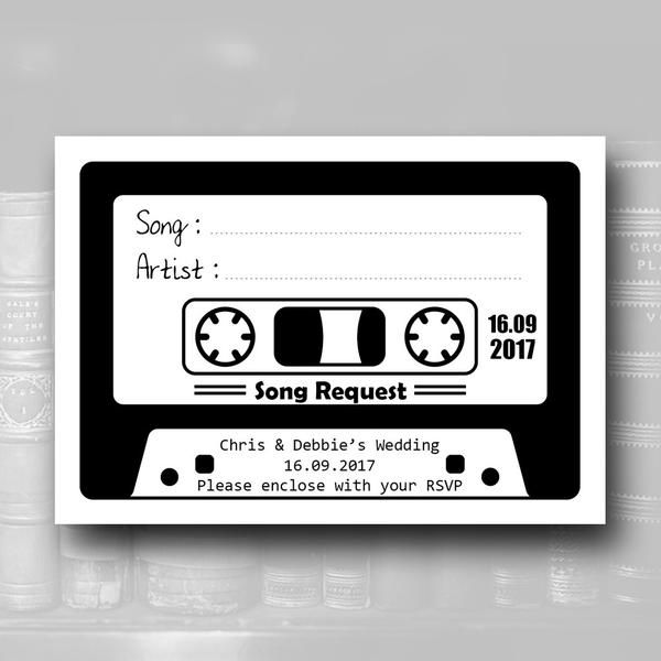 Love Story Song Request Cards Additional Extra Stationery Personalised Music Cassette Tape Retro 80 S 90 S Rsvp Dj Song Request Songs Cards