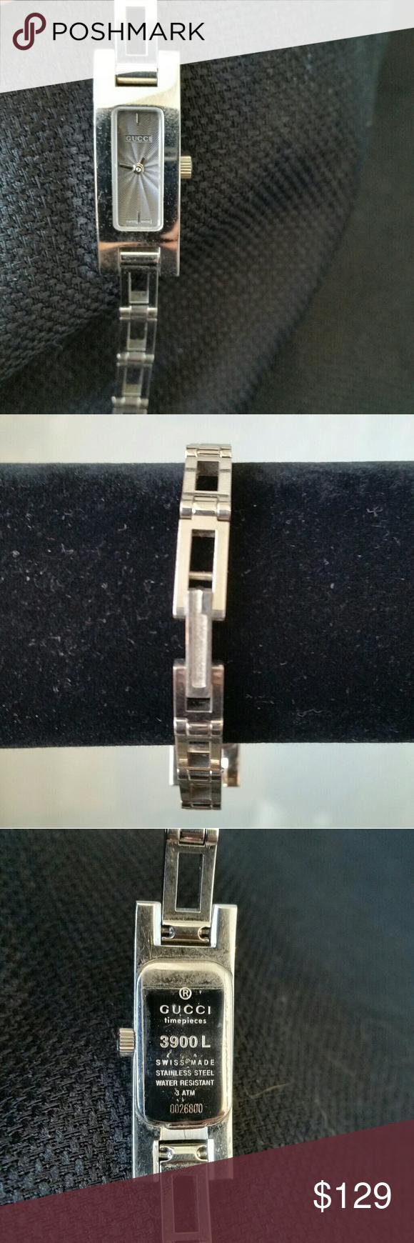 648394c7b552de Vintage Silver Gucci Wristwatch 3900 L Vintage Gucci Watch Very Good Pre- owned Condition Features