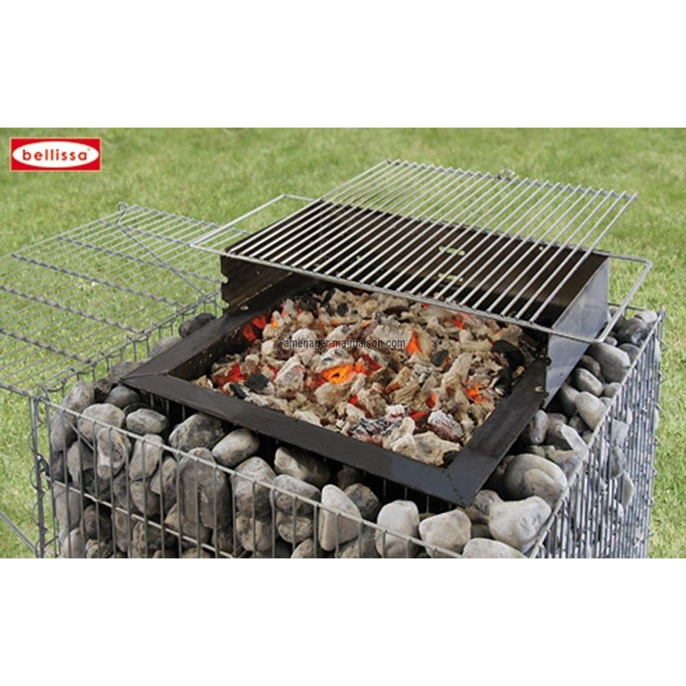 Barbecue gabion avec galets barbecue galets et id es ext rieures - Idee barbecue exterieur ...