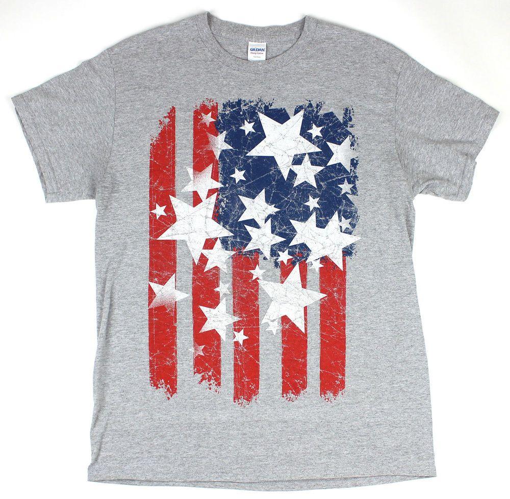 Mens American Stars And Stripes Us Flag T Shirt Distressed Look Size Medium Usa Flag Tshirt Cool Graphic Tees Stripes
