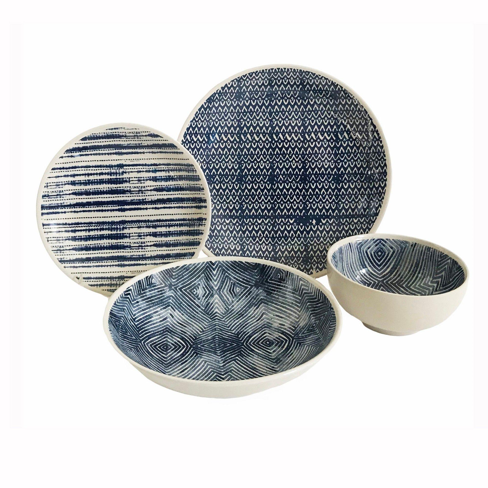 Moroccan Mediterranean Style Dinner Set 12Pcs Porcelain Side Plates Bowls Blue