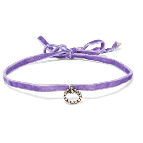 Dannijo Woman Vix Velvet, Silver-plated And Swarovski Crystal Choker Dark Purple Size Dannijo