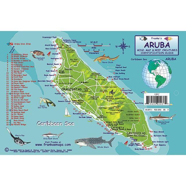 Franko Maps Aruba Coral Reef Dive Creature Guide 5 5 X 8 5 Inch in