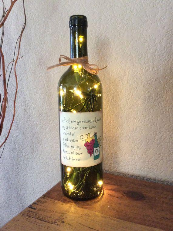 Wine Bottle Light Wine Quote Home Decor Man Cave Bar
