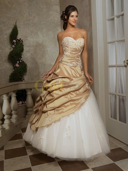 Attractive Strapless Sweetheart Beaded Floor Length Taffeta Tulle Lace Ball Gown
