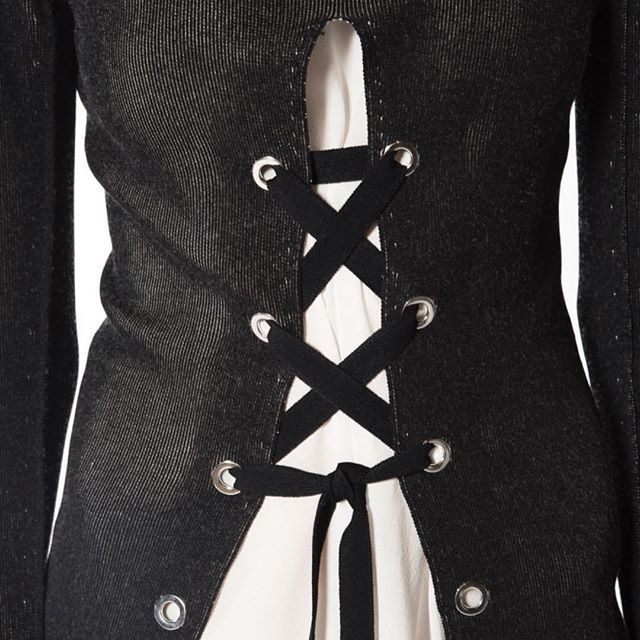 Lookout for more lace up styles from @proenzaschouler #laceup #corset #cardigan…