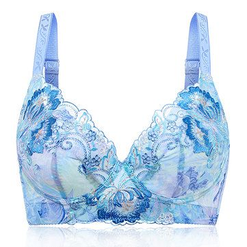 3dd91abfbcbe5 Plus Size B-F Cup Sexy Dark V Luxurious Flower Embroidery Push Up Underwire  Ultra Thin Bras