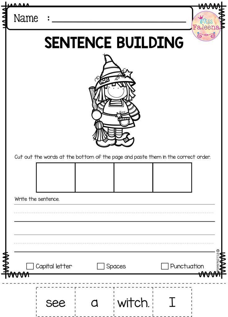October Sentence Building   Kindergarten worksheets, Thinking skills ...