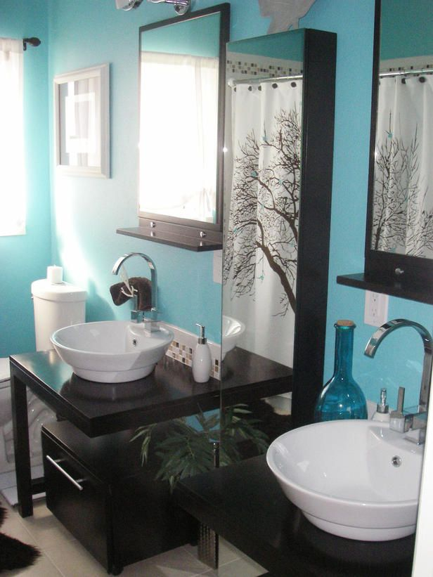 Colorful Bathrooms From HGTV Fans Dark Bathrooms Tub Surround - Light blue bathroom accessories for bathroom decor ideas