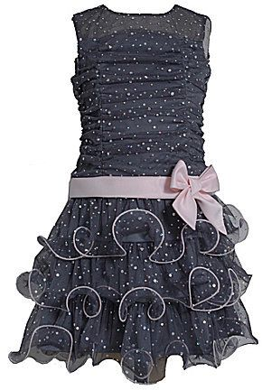Bonnie Jean 7-16 Spangled Shirred-Bodice Tiered-Skirt Dress