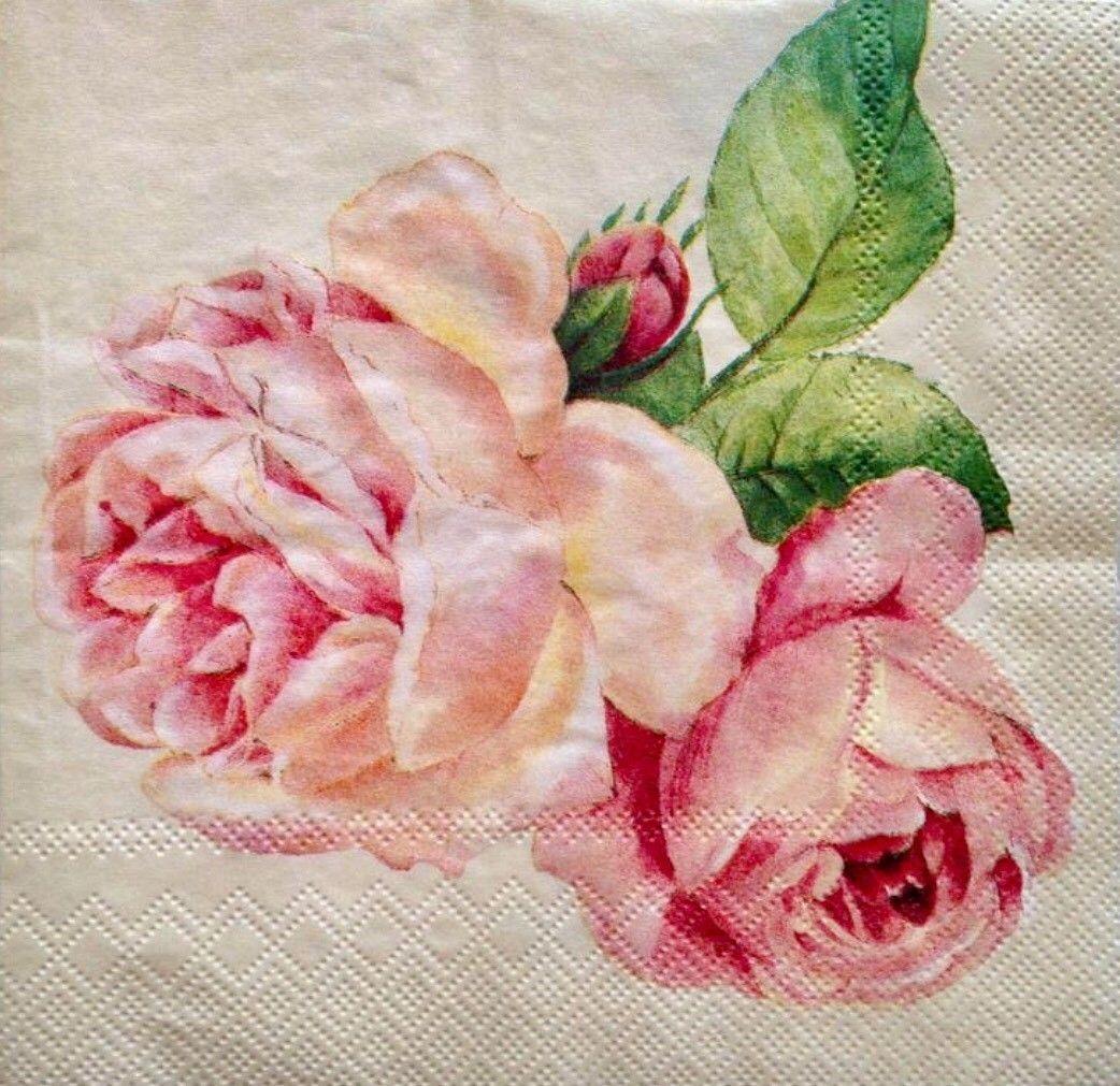 20 Vintage Paper Napkins Decoupage Pink Rose Flowers Party Luncheon Serviettes