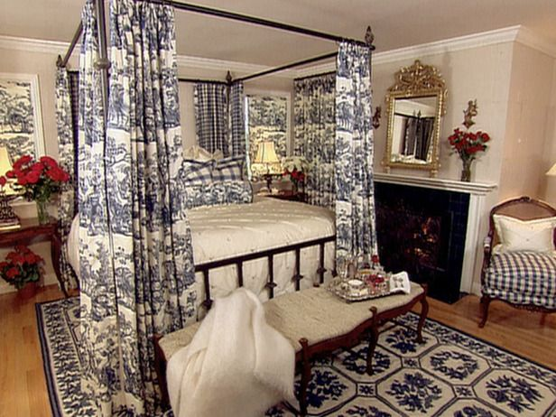 Blue Toile Bedroom Ideas: French Country Bedroom. Black And Ivory