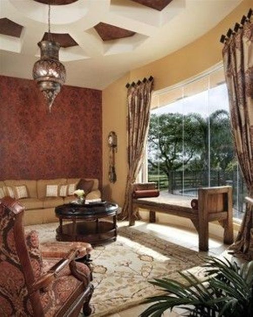 Mediterranean Style Living Room Curtains Spaces