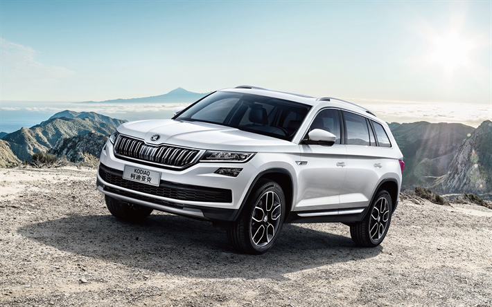 New Vehicles 2017 >> Download Wallpapers Skoda Kodiaq 2017 Crossover White