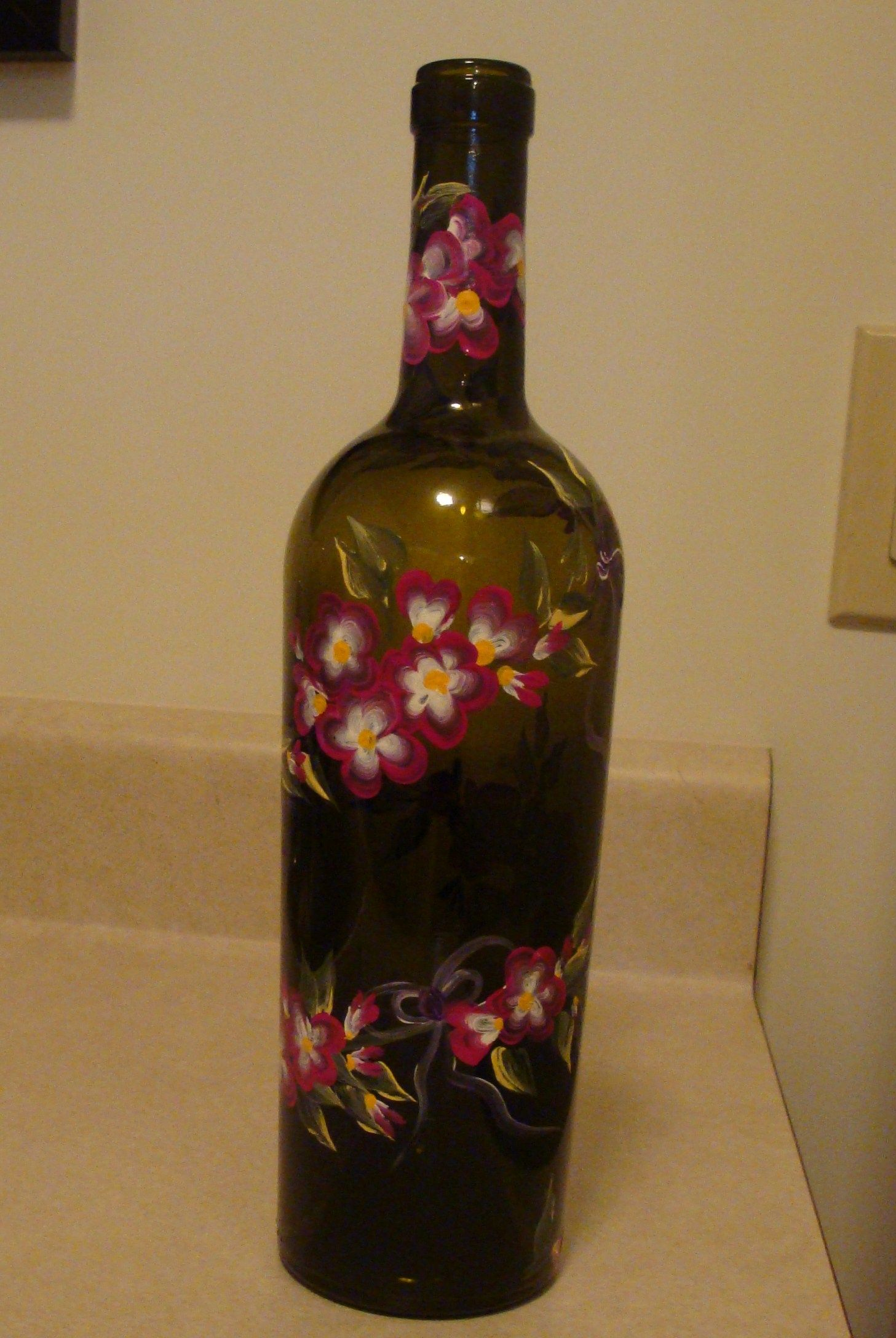 Hand painted wine bottles recycling wine bottles by for Painted wine bottles