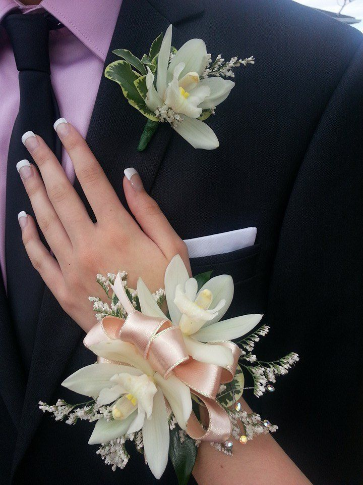 Cymbidium Orchid wrist Corsage and Boutonniere | corsages ...