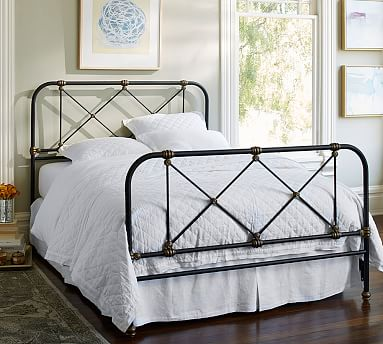 Atticus Victorian Ironwork Bed Black with Brass Accent King