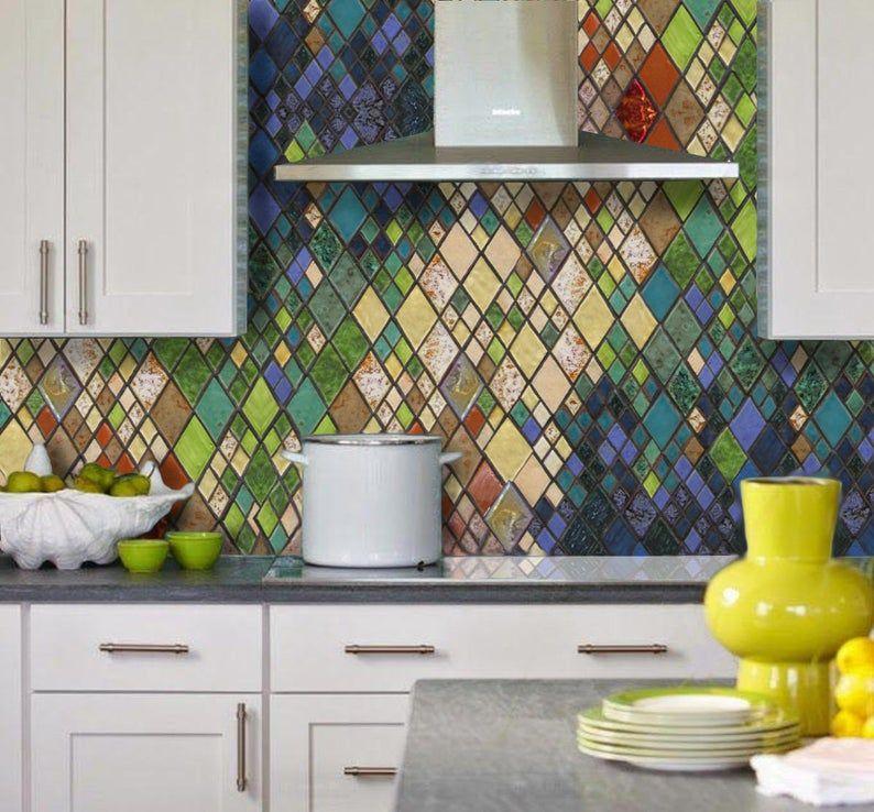 Abstract Harlequin Romance Art Tile Backsplash Etsy Colorful Kitchen Backsplash Modern Kitchen Backsplash Tile Backsplash